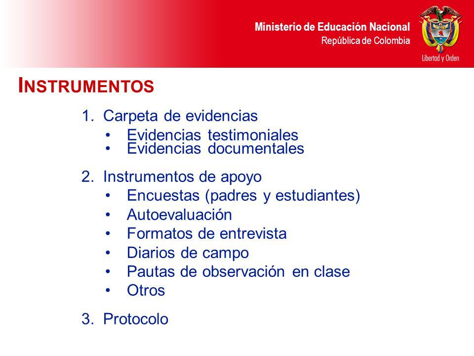 Ministerio de Educación Nacional República de Colombia I NSTRUMENTOS 1.Carpeta de evidencias Evidencias testimoniales Evidencias documentales 2.Instru