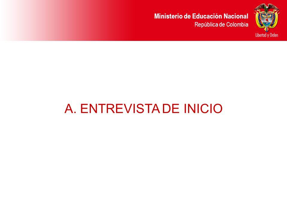 Ministerio de Educación Nacional República de Colombia A. ENTREVISTA DE INICIO