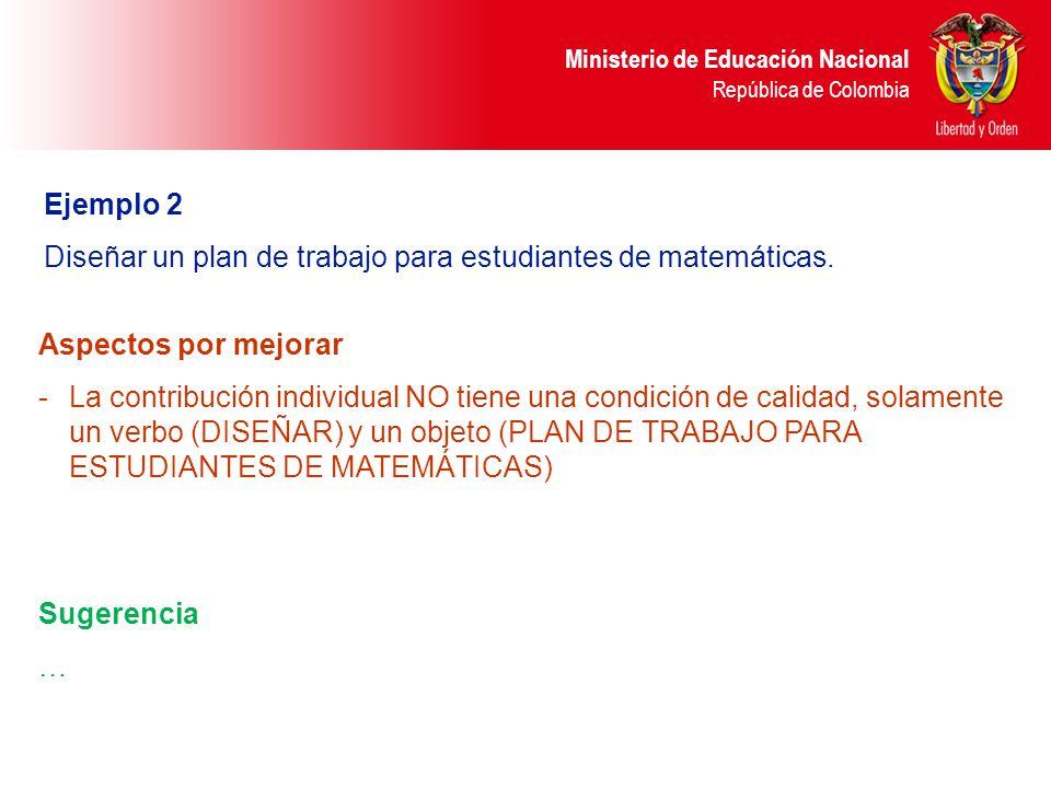 Ministerio de Educación Nacional República de Colombia Ejemplo 2 Diseñar un plan de trabajo para estudiantes de matemáticas. Sugerencia … Aspectos por