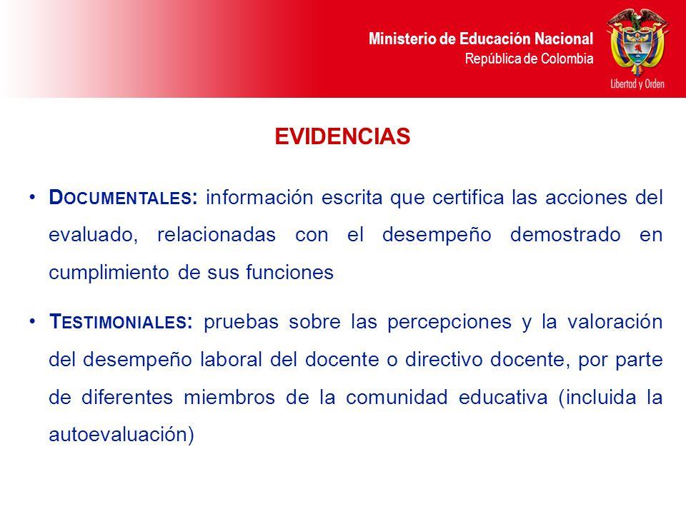 Ministerio de Educación Nacional República de Colombia EVIDENCIAS D OCUMENTALES : información escrita que certifica las acciones del evaluado, relacio