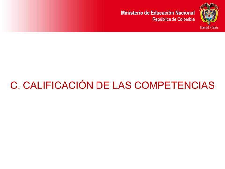 Ministerio de Educación Nacional República de Colombia C. CALIFICACIÓN DE LAS COMPETENCIAS