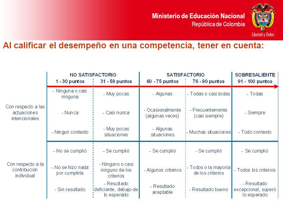 Ministerio de Educación Nacional República de Colombia Al calificar el desempeño en una competencia, tener en cuenta: