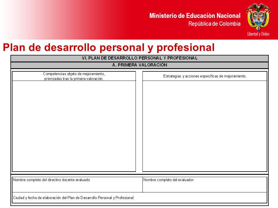 Ministerio de Educación Nacional República de Colombia Plan de desarrollo personal y profesional