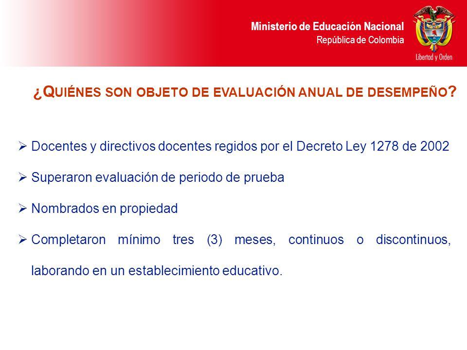 Ministerio de Educación Nacional República de Colombia Docentes y directivos docentes regidos por el Decreto Ley 1278 de 2002 Superaron evaluación de