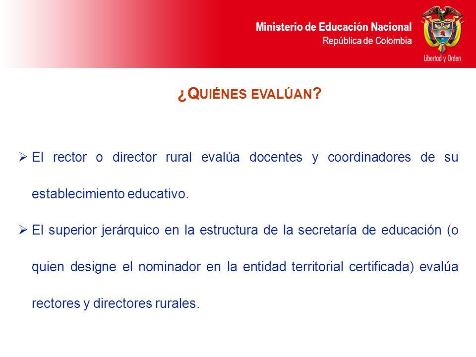 Ministerio de Educación Nacional República de Colombia El rector o director rural evalúa docentes y coordinadores de su establecimiento educativo. El