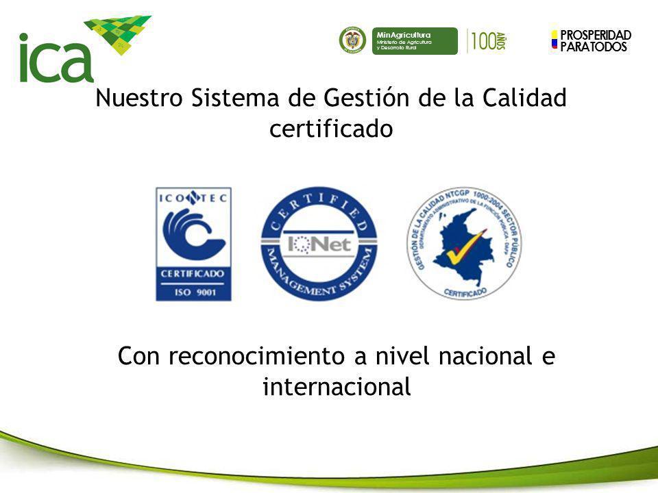 PROSPERIDAD PARA TODOS MinAgricultura Ministerio de Agricultura y Desarrollo Rural Nuestro Sistema de Gestión de la Calidad certificado Con reconocimi