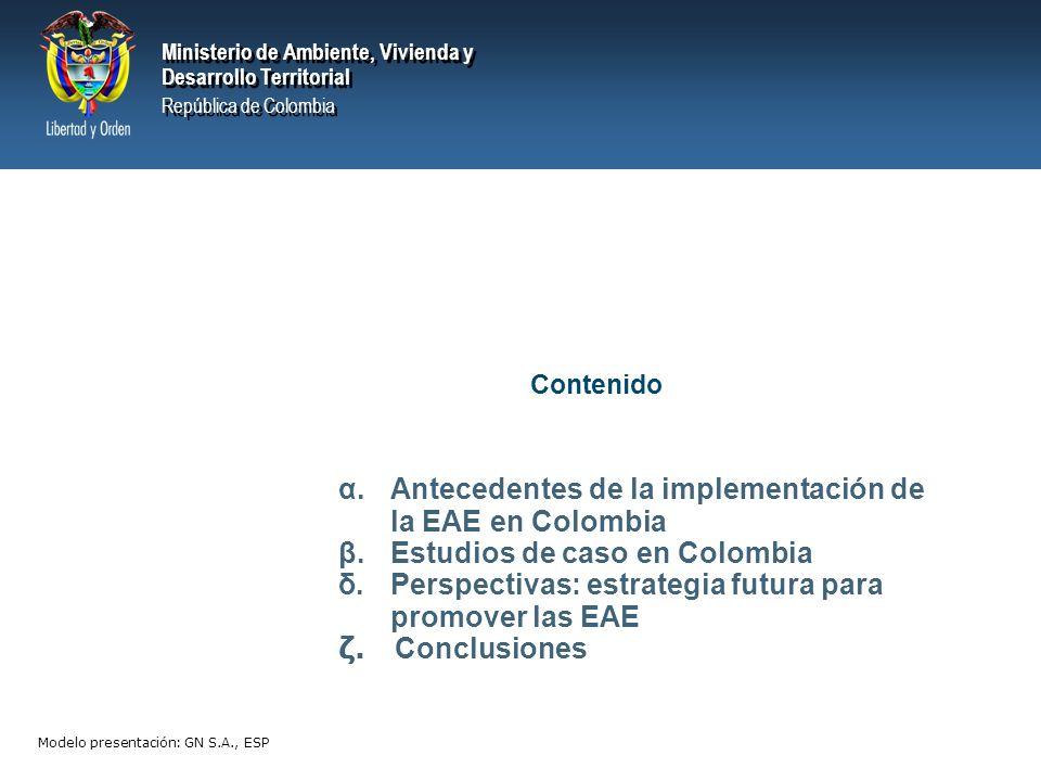 Ministerio de Ambiente, Vivienda y Desarrollo Territorial República de Colombia Ministerio de Ambiente, Vivienda y Desarrollo Territorial República de Colombia Aumento de precio del combustible Demanda de combustible Condiciona Mejora Mercado competitivo Tecnología automotriz Reduce Emisiones Estado de Vías Tipo de Transporte Efectos En salud Agentes Privados Aumenta Emisiones Demanda de Petróleo Competitividad Privilegia Costos en Salud Aumenta Productividad (-) (+) Ejemplo de Modelo para identificar interrelaciones