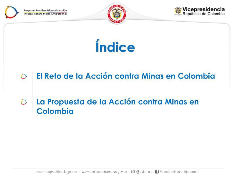 El Reto de la Acción contra Minas en Colombia Índice La Propuesta de la Acción contra Minas en Colombia