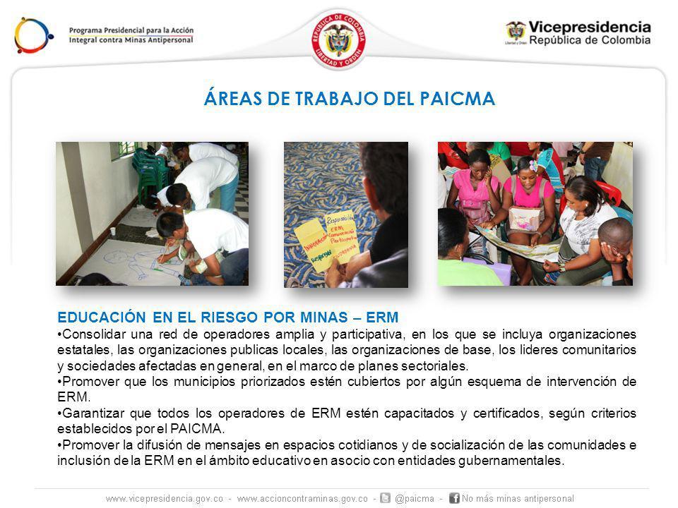 EDUCACIÓN EN EL RIESGO POR MINAS – ERM Consolidar una red de operadores amplia y participativa, en los que se incluya organizaciones estatales, las organizaciones publicas locales, las organizaciones de base, los lideres comunitarios y sociedades afectadas en general, en el marco de planes sectoriales.