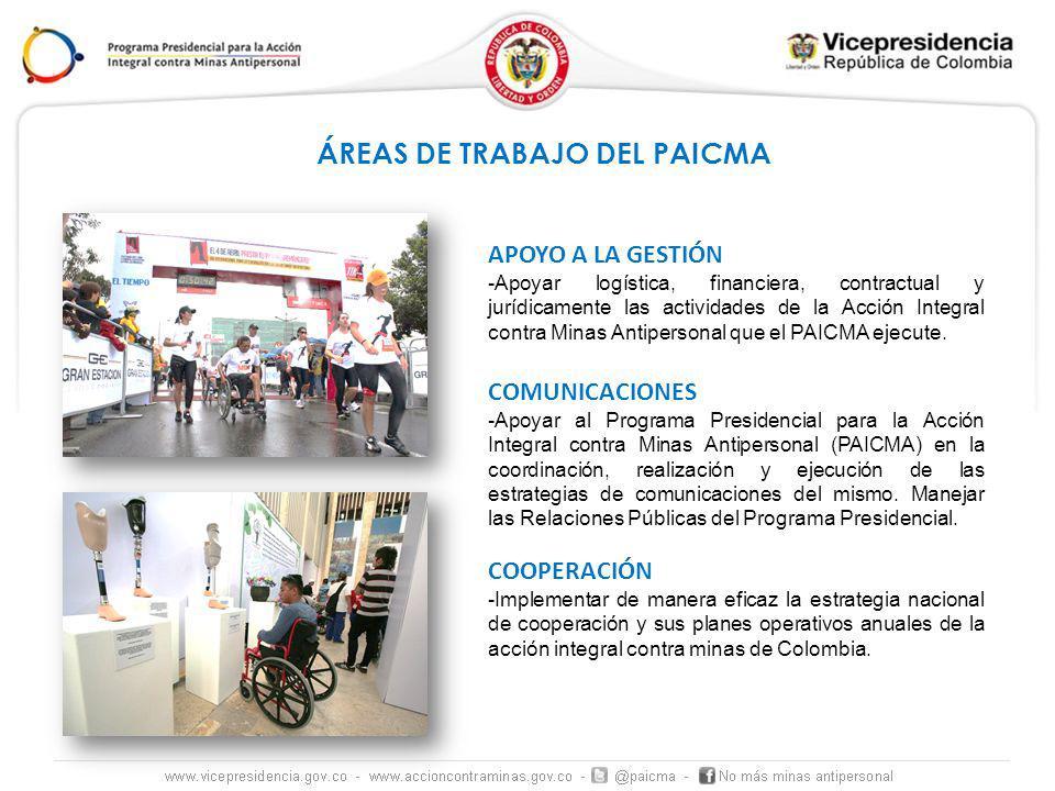 APOYO A LA GESTIÓN -Apoyar logística, financiera, contractual y jurídicamente las actividades de la Acción Integral contra Minas Antipersonal que el PAICMA ejecute.