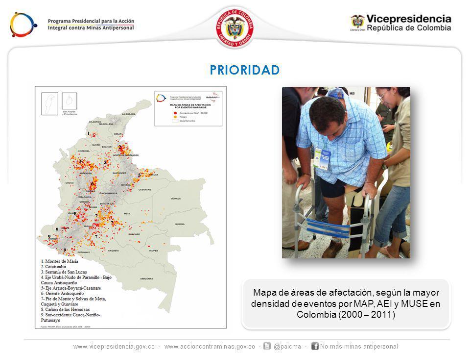 Mapa de áreas de afectación, según la mayor densidad de eventos por MAP, AEI y MUSE en Colombia (2000 – 2011) PRIORIDAD