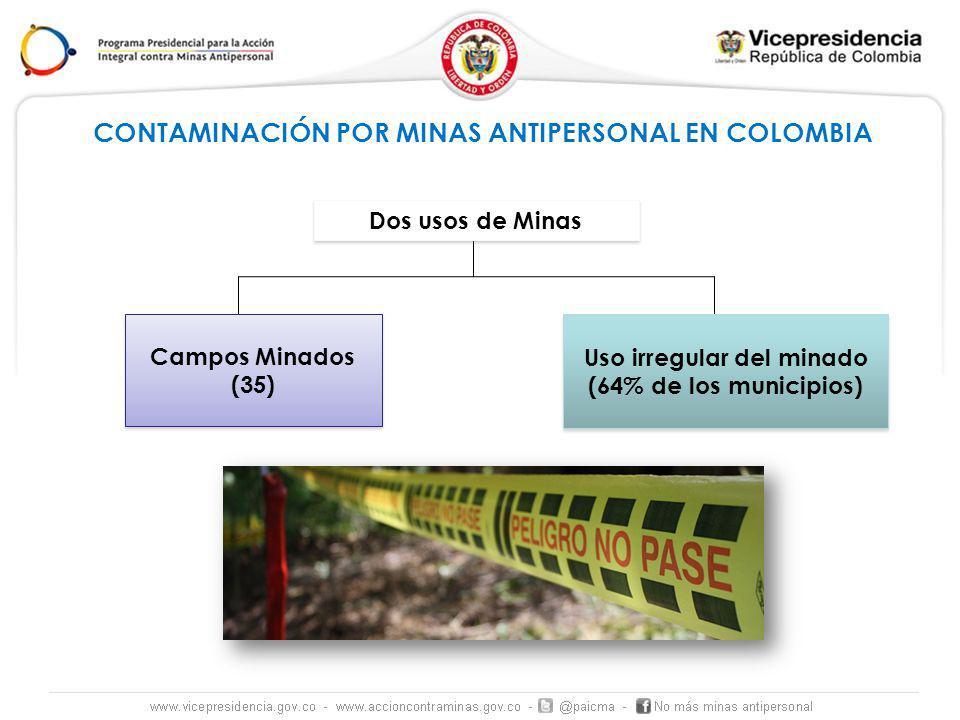 CONTAMINACIÓN POR MINAS ANTIPERSONAL EN COLOMBIA Campos Minados (35) Uso irregular del minado (64% de los municipios) Dos usos de Minas