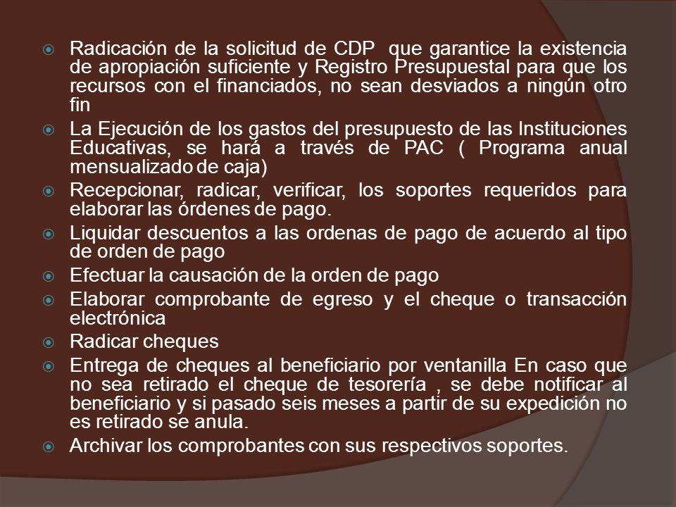MANEJO DE TESORERÍA Es fundamental que los documentos soportes requeridos para la cancelación de cada tipo de pago, sea establecido con anterioridad d
