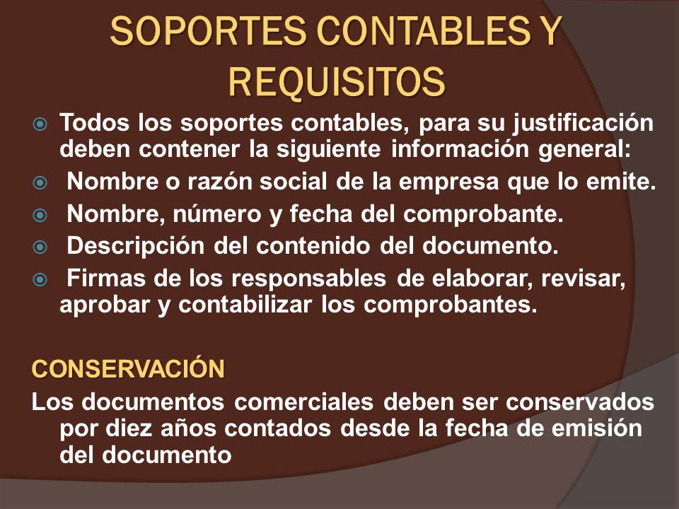 CONCEPTO. CONCEPTO. Los soportes de contabilidad son los documentos que sirven de base para registrar las operaciones comerciales de una empresa, es p