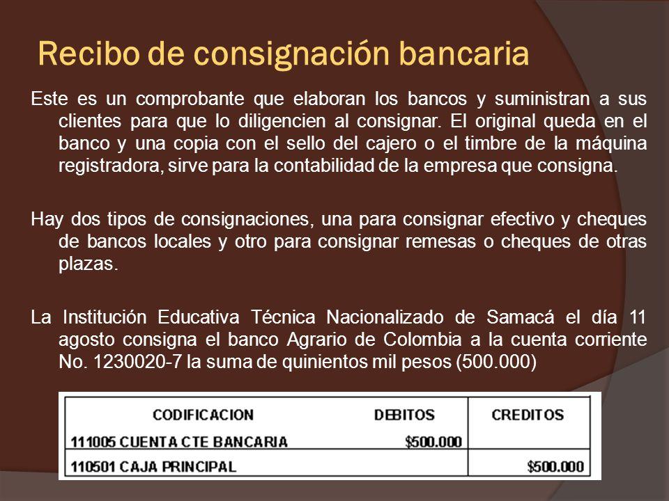 Ejemplo La Institución Educativa técnico Nacionalizado de Samacá, recibe en efectivo el día 10 agosto, el arrendamiento de la tienda escolar.