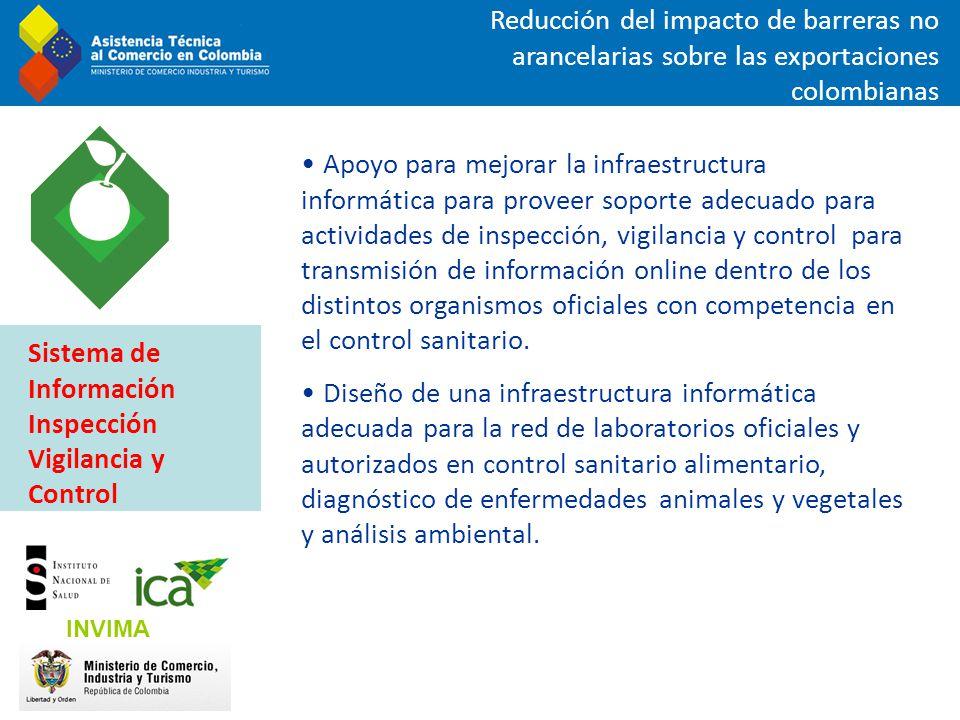 Reducción del impacto de barreras no arancelarias sobre las exportaciones colombianas Apoyo para mejorar la infraestructura informática para proveer s