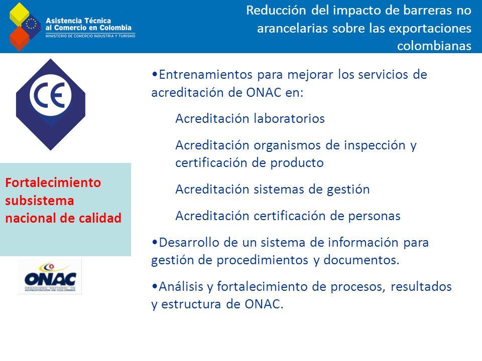 Reducción del impacto de barreras no arancelarias sobre las exportaciones colombianas Entrenamientos para mejorar los servicios de acreditación de ONA