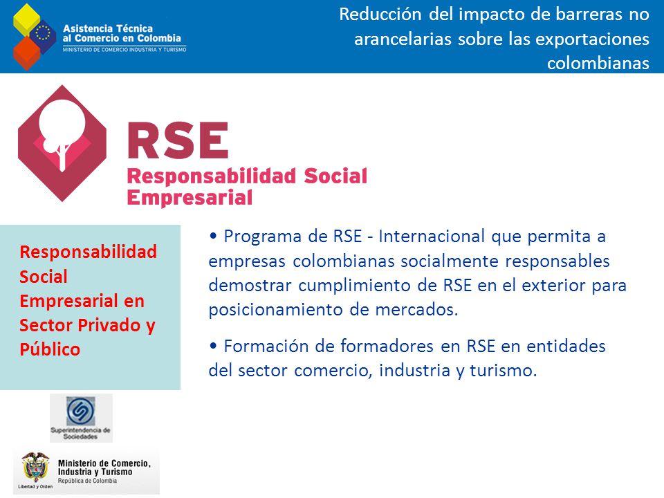 Programa de RSE - Internacional que permita a empresas colombianas socialmente responsables demostrar cumplimiento de RSE en el exterior para posicion
