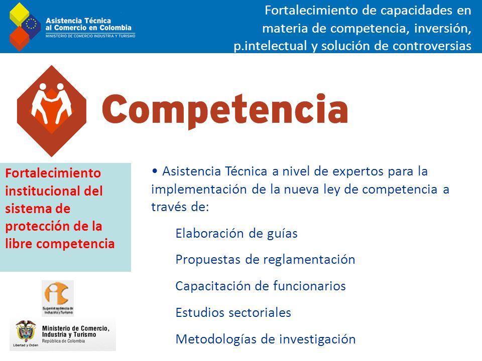 Asistencia Técnica a nivel de expertos para la implementación de la nueva ley de competencia a través de: Elaboración de guías Propuestas de reglament