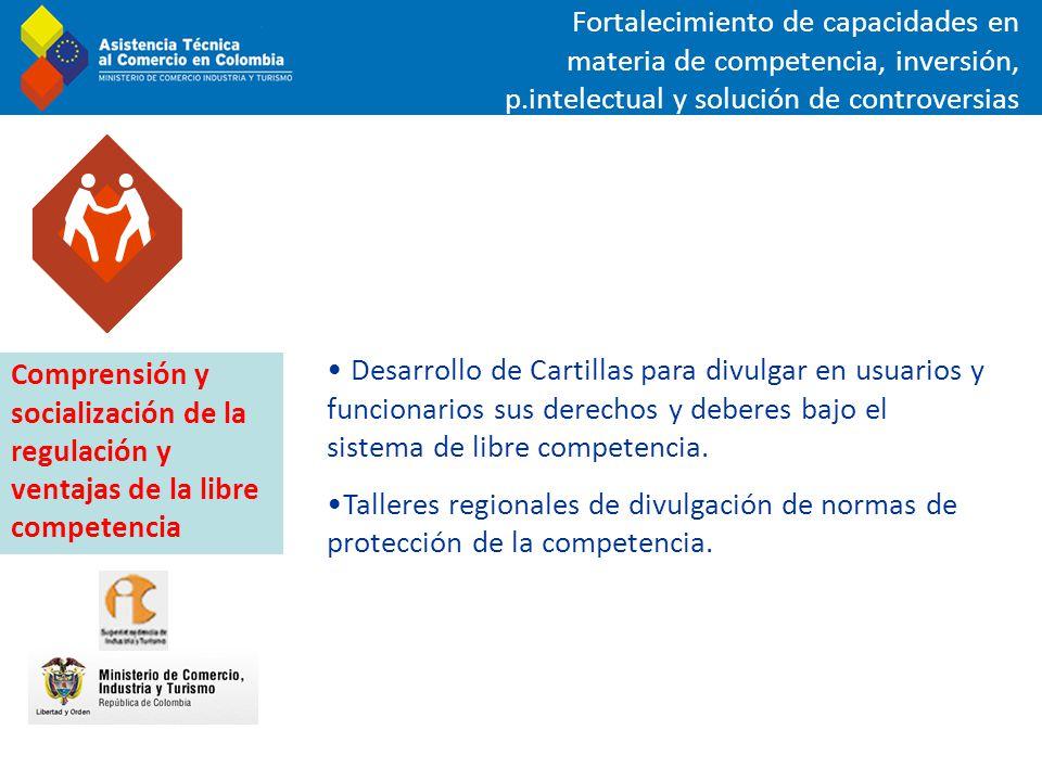 Desarrollo de Cartillas para divulgar en usuarios y funcionarios sus derechos y deberes bajo el sistema de libre competencia. Talleres regionales de d