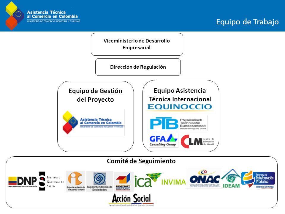 Equipo de Gestión del Proyecto Equipo de Trabajo Viceministerio de Desarrollo Empresarial Dirección de Regulación Equipo Asistencia Técnica Internacio