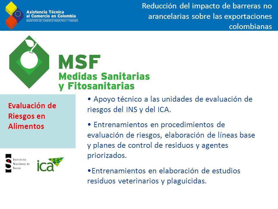 Reducción del impacto de barreras no arancelarias sobre las exportaciones colombianas Apoyo técnico a las unidades de evaluación de riesgos del INS y