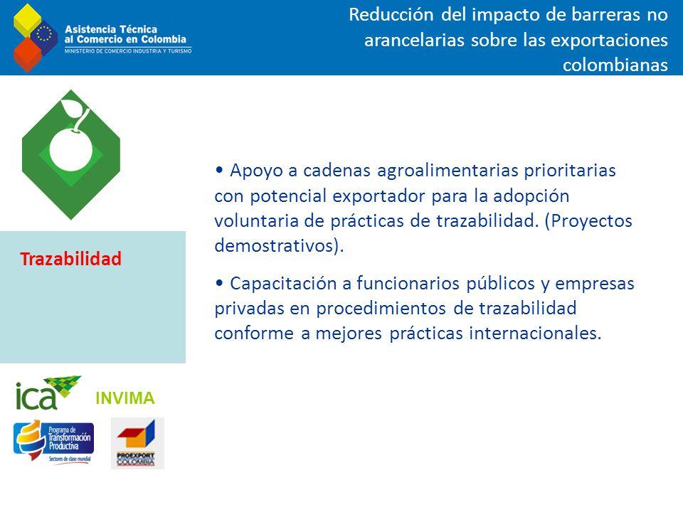 Reducción del impacto de barreras no arancelarias sobre las exportaciones colombianas Apoyo a cadenas agroalimentarias prioritarias con potencial expo