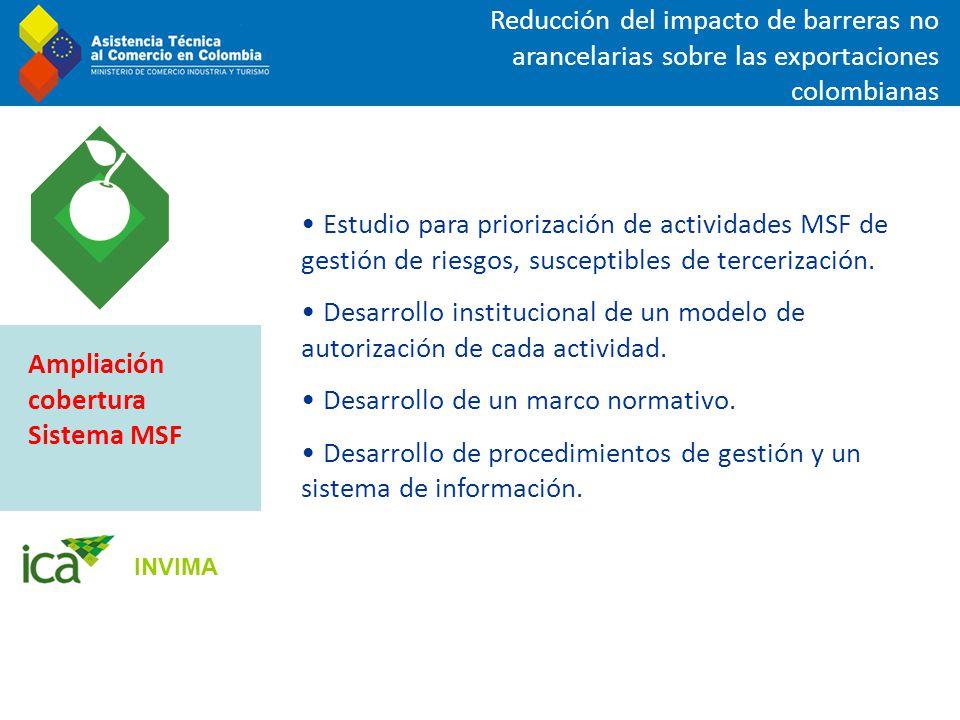 Reducción del impacto de barreras no arancelarias sobre las exportaciones colombianas Estudio para priorización de actividades MSF de gestión de riesg