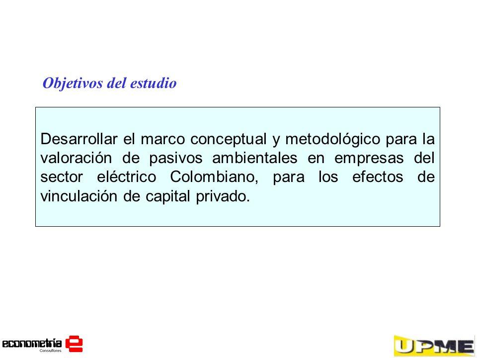 Desarrollar el marco conceptual y metodológico para la valoración de pasivos ambientales en empresas del sector eléctrico Colombiano, para los efectos