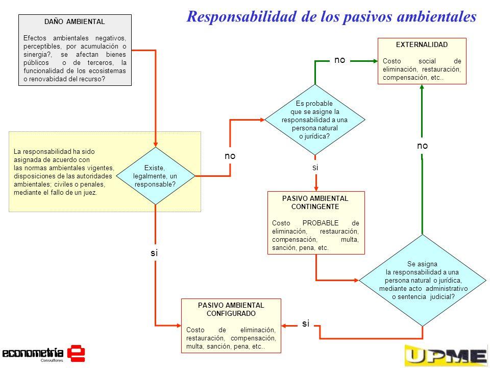 Responsabilidad de los pasivos ambientales La responsabilidad ha sido asignada de acuerdo con las normas ambientales vigentes, disposiciones de las au