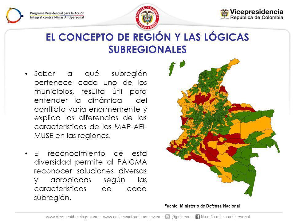 Fuente: Ministerio de Defensa Nacional Saber a qué subregión pertenece cada uno de los municipios, resulta útil para entender la dinámica del conflicto varía enormemente y explica las diferencias de las características de las MAP-AEI- MUSE en las regiones.