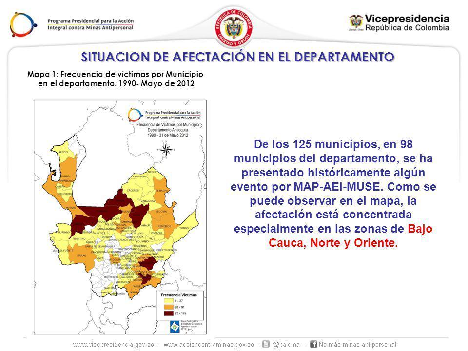 SITUACION DE AFECTACIÓN EN EL DEPARTAMENTO Mapa 1: Frecuencia de víctimas por Municipio en el departamento.