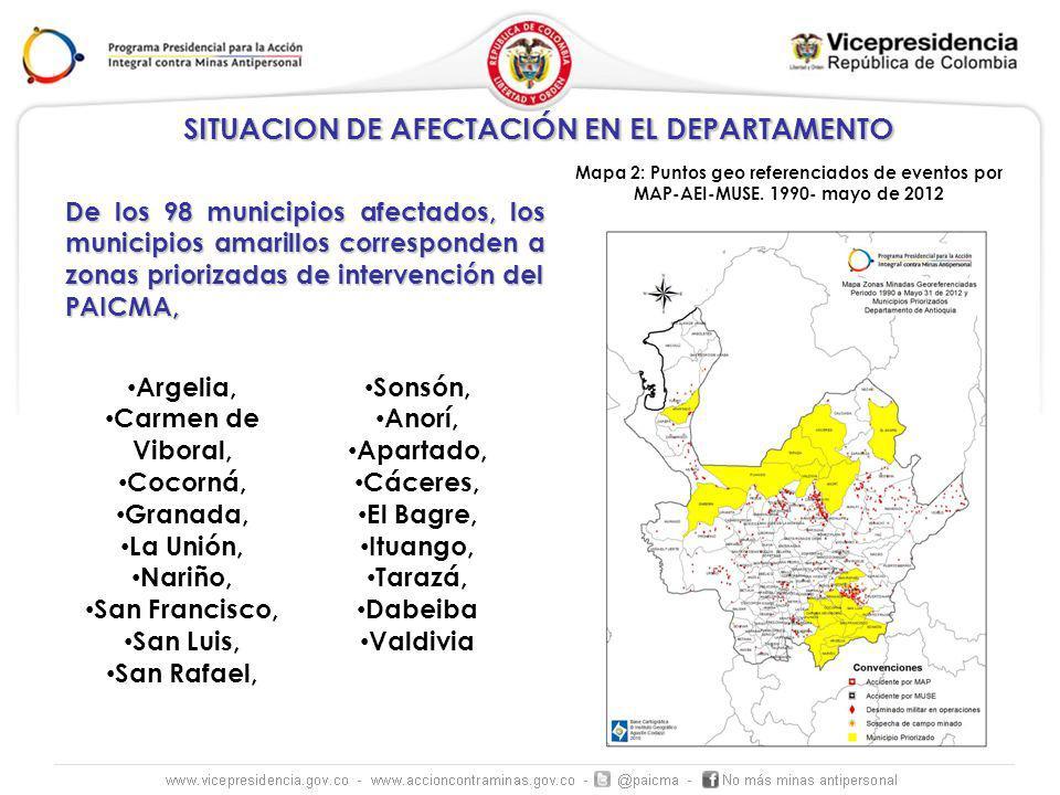 SITUACION DE AFECTACIÓN EN EL DEPARTAMENTO Mapa 2: Puntos geo referenciados de eventos por MAP-AEI-MUSE.