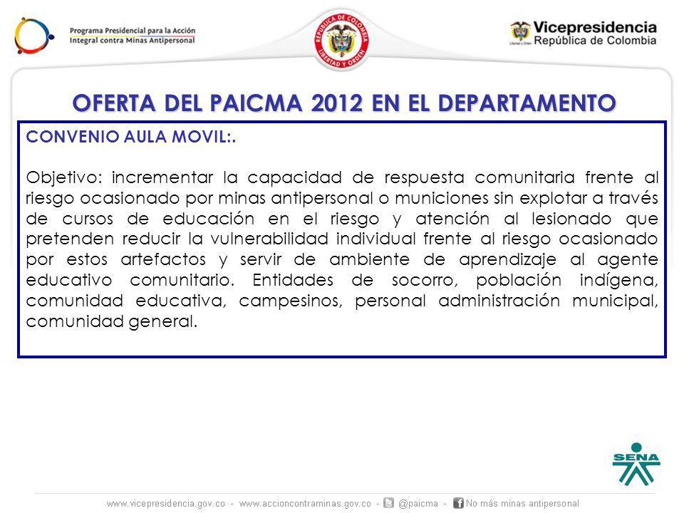 OFERTA DEL PAICMA 2012 EN EL DEPARTAMENTO CONVENIO AULA MOVIL:.