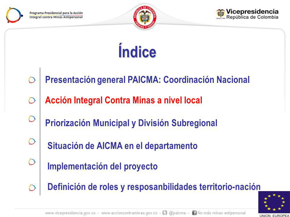 IMPLEMENTACIÓN PROYECTO UE ESTUDIOS GENERAL- POC/ROE ESTUDIOS GENERAL- POC/ROE MUNICIPIO NO AFECTADO POR MAP Y MUSE MUNICIPIO NO AFECTADO POR MAP Y MUSE MUNICIPIO AFECTADO POR MAP Y MUSE MUNICIPIO AFECTADO POR MAP Y MUSE Construcción SOP Certificado no MAP Min Defensa Certificado no MAP Min Defensa Cancelación de puntos IMSMA Cancelación de puntos IMSMA MUNICIPIOS ROJOS Y AMARILLOS (sin seguridad) ERM de Emergencia AV MUNICIPIOS ROJOS Y AMARILLOS (sin seguridad) ERM de Emergencia AV MUNICIPIO VERDE (Seguridad) Estudio de Liberación de Tierras ERM AV MUNICIPIO VERDE (Seguridad) Estudio de Liberación de Tierras ERM AV GESTORES TERRITORIALES Y DESETRALIZACION DE LA GESTION DE INFORMACIÓN GESTIÓN DE CALIDAD EVALUCION Y MONITOREO
