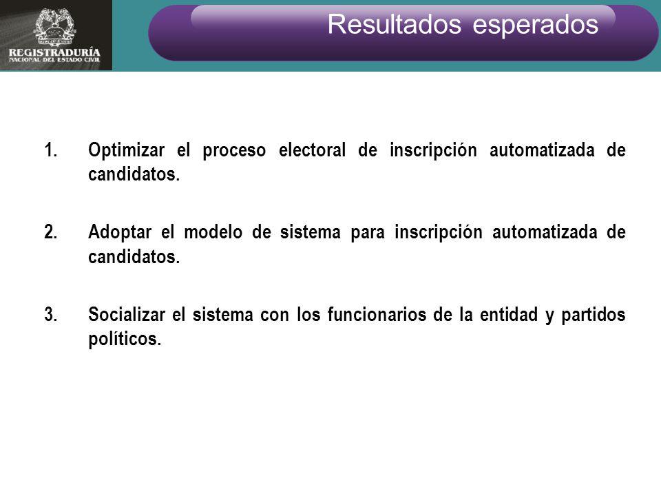 1.Optimizar el proceso electoral de inscripción automatizada de candidatos. 2.Adoptar el modelo de sistema para inscripción automatizada de candidatos