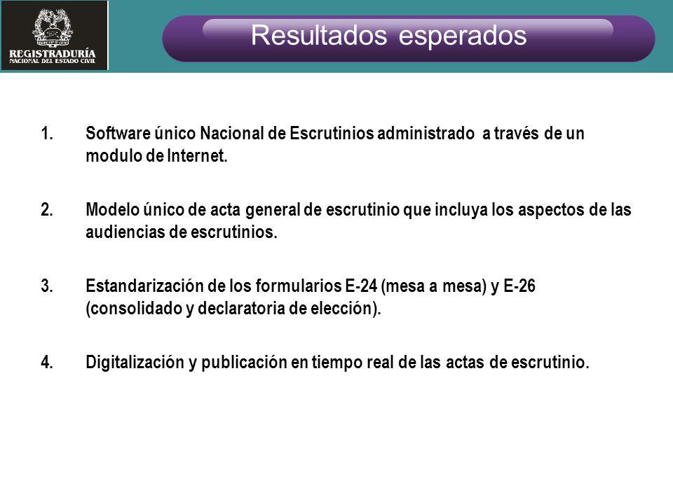 1.Software único Nacional de Escrutinios administrado a través de un modulo de Internet. 2.Modelo único de acta general de escrutinio que incluya los