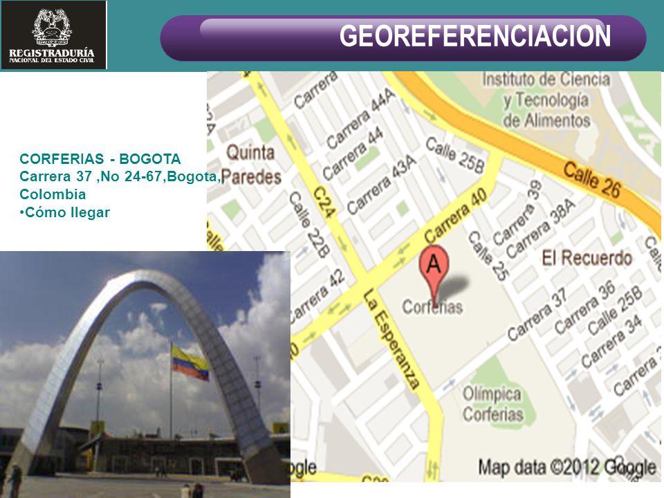 CORFERIAS - BOGOTA Carrera 37,No 24-67,Bogota,, Colombia Cómo llegar GEOREFERENCIACION