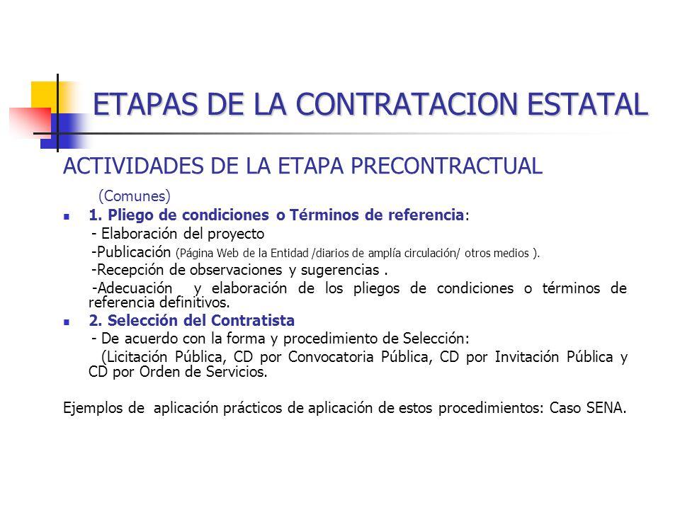 ETAPAS DE LA CONTRATACION ESTATAL ACTIVIDADES DE LA ETAPA PRECONTRACTUAL (Comunes) 1.