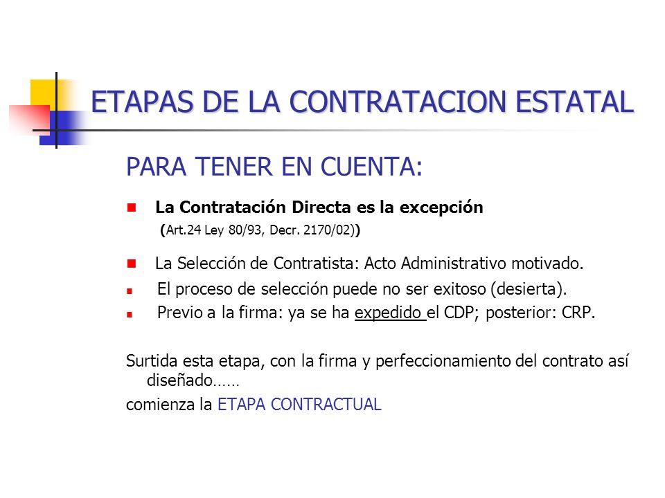 ETAPAS DE LA CONTRATACION ESTATAL PARA TENER EN CUENTA: La Contratación Directa es la excepción (Art.24 Ley 80/93, Decr.