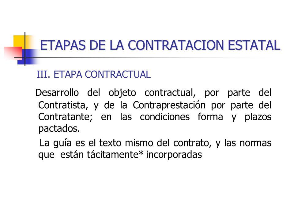ETAPAS DE LA CONTRATACION ESTATAL III.