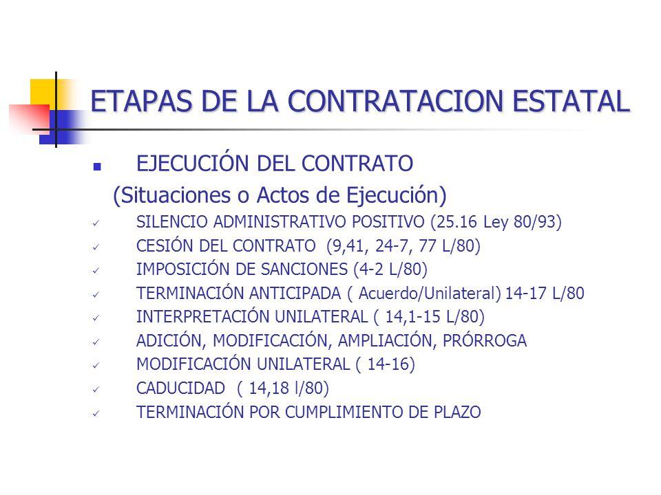 ETAPAS DE LA CONTRATACION ESTATAL EJECUCIÓN DEL CONTRATO (Situaciones o Actos de Ejecución) SILENCIO ADMINISTRATIVO POSITIVO (25.16 Ley 80/93) CESIÓN DEL CONTRATO (9,41, 24-7, 77 L/80) IMPOSICIÓN DE SANCIONES (4-2 L/80) TERMINACIÓN ANTICIPADA ( Acuerdo/Unilateral) 14-17 L/80 INTERPRETACIÓN UNILATERAL ( 14,1-15 L/80) ADICIÓN, MODIFICACIÓN, AMPLIACIÓN, PRÓRROGA MODIFICACIÓN UNILATERAL ( 14-16) CADUCIDAD ( 14,18 l/80) TERMINACIÓN POR CUMPLIMIENTO DE PLAZO