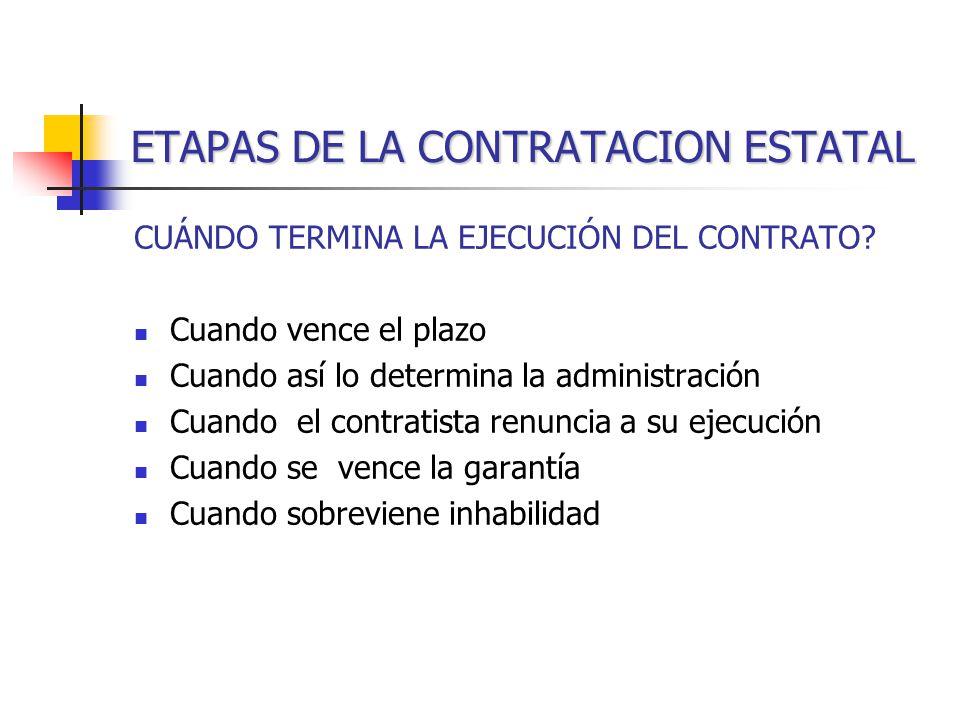 ETAPAS DE LA CONTRATACION ESTATAL CUÁNDO TERMINA LA EJECUCIÓN DEL CONTRATO.
