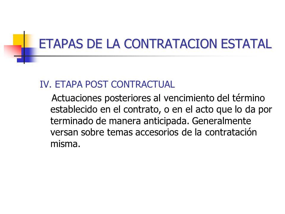ETAPAS DE LA CONTRATACION ESTATAL IV.
