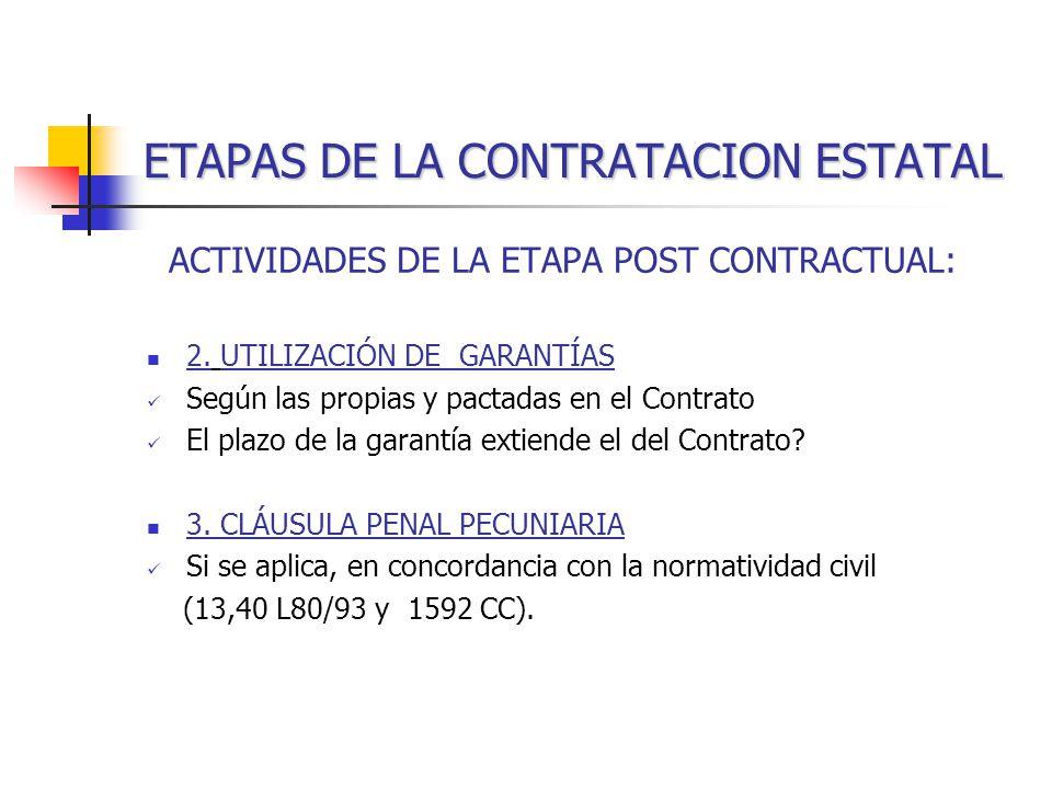 ETAPAS DE LA CONTRATACION ESTATAL ACTIVIDADES DE LA ETAPA POST CONTRACTUAL: 2.