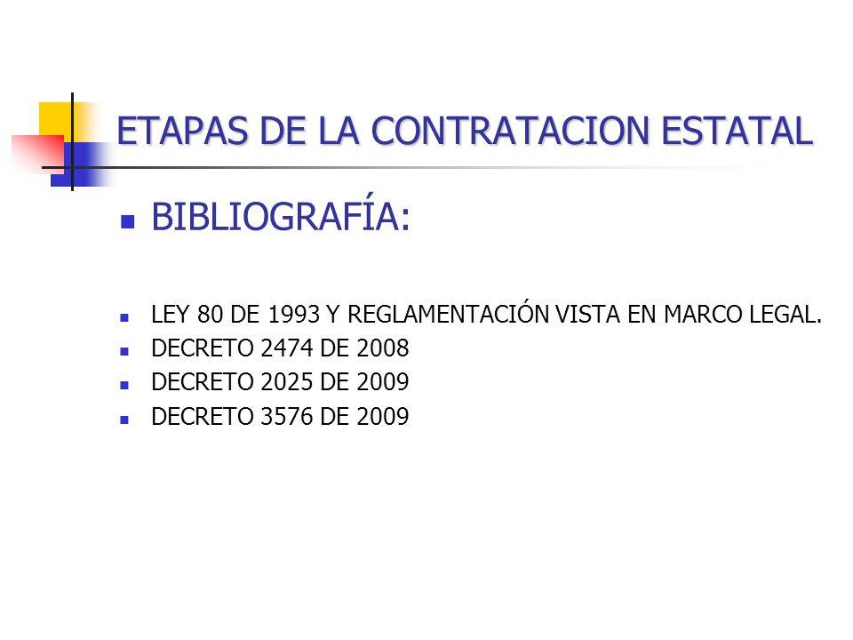 ETAPAS DE LA CONTRATACION ESTATAL BIBLIOGRAFÍA: LEY 80 DE 1993 Y REGLAMENTACIÓN VISTA EN MARCO LEGAL.