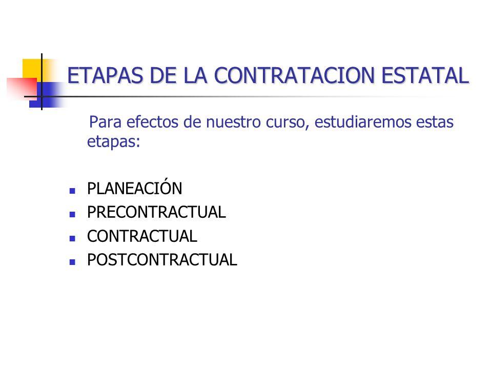 ETAPAS DE LA CONTRATACION ESTATAL Para efectos de nuestro curso, estudiaremos estas etapas: PLANEACIÓN PRECONTRACTUAL CONTRACTUAL POSTCONTRACTUAL