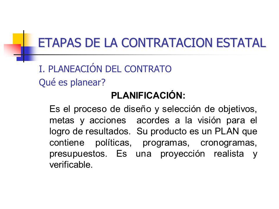 ETAPAS DE LA CONTRATACION ESTATAL I.PLANEACIÓN DEL CONTRATO Qué es planear.