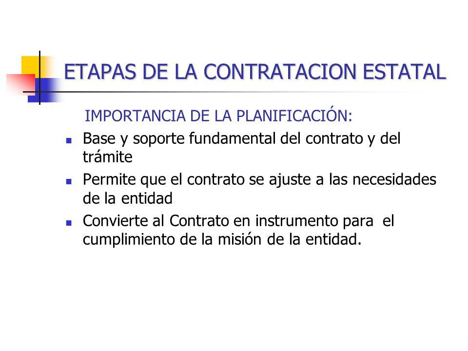 ETAPAS DE LA CONTRATACION ESTATAL IMPORTANCIA DE LA PLANIFICACIÓN: Base y soporte fundamental del contrato y del trámite Permite que el contrato se ajuste a las necesidades de la entidad Convierte al Contrato en instrumento para el cumplimiento de la misión de la entidad.