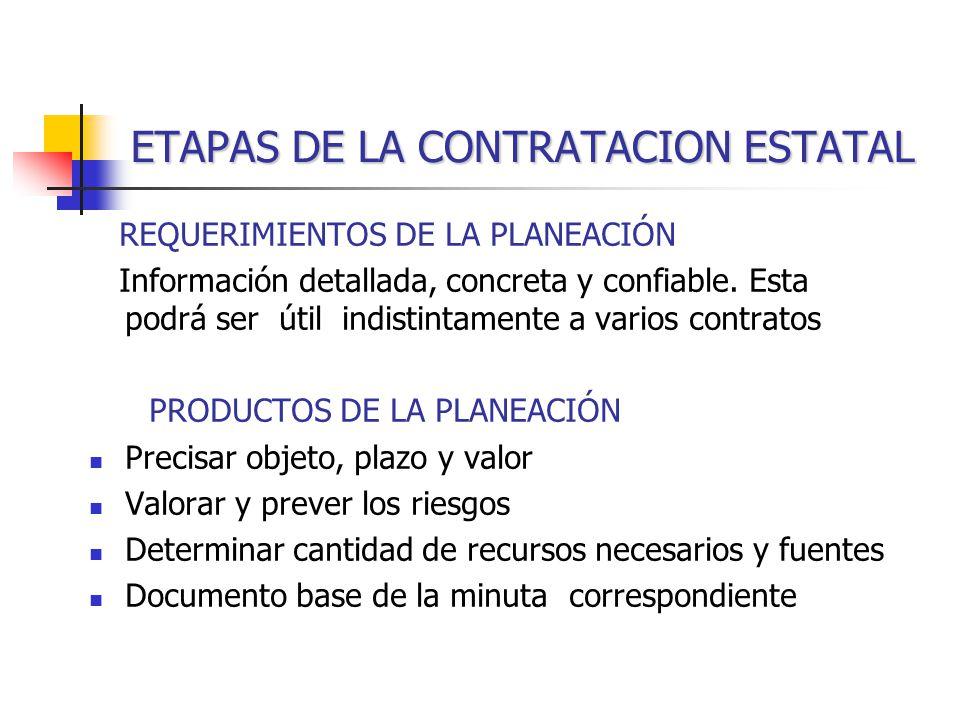 ETAPAS DE LA CONTRATACION ESTATAL REQUERIMIENTOS DE LA PLANEACIÓN Información detallada, concreta y confiable.